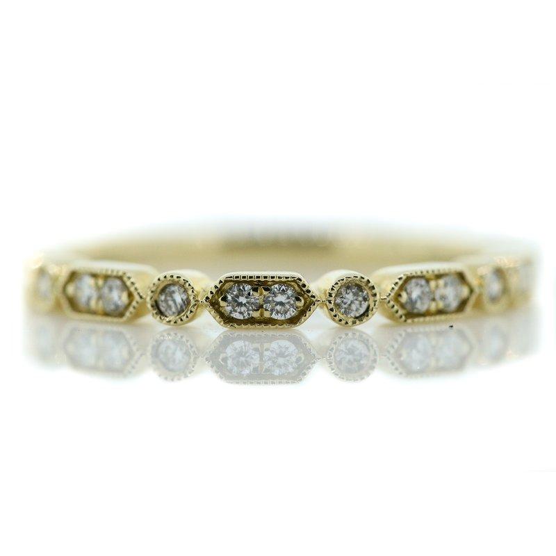 Iroff and Son Jewelers  14K Yellow Gold Milgrain Bar Round Diamonds Wedding Band SZ 6