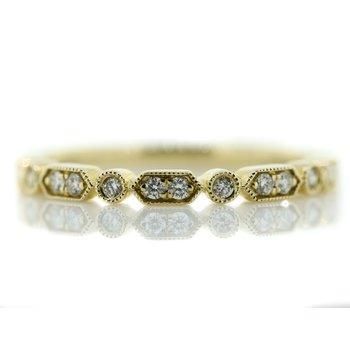 14K Yellow Gold Milgrain Bar Round Diamonds Wedding Band SZ 6