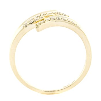 14K Gold Reverse Bypass Diamond Accent Snake Ring