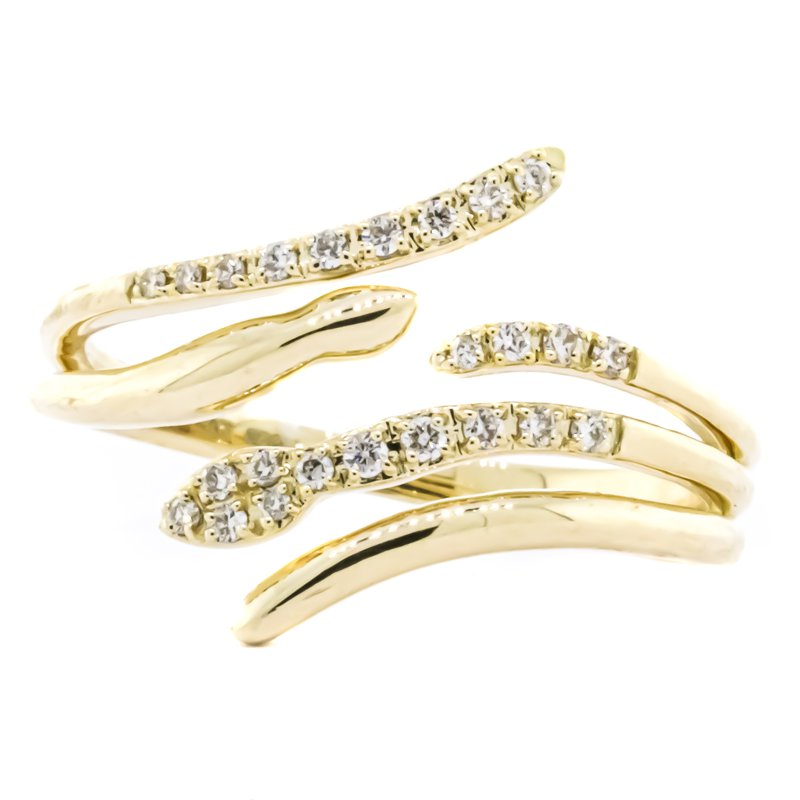 Iroff and Son Jewelers  14K Gold Reverse Bypass Diamond Accent Snake Ring