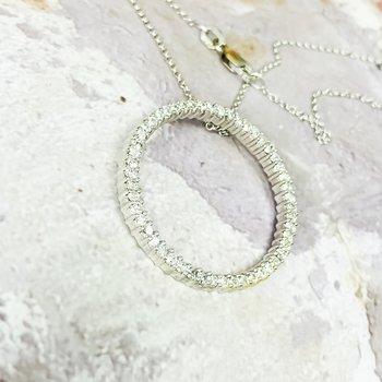 "14K White Gold 1"" Circle 1.25CTW Diamond Pendant Necklace"
