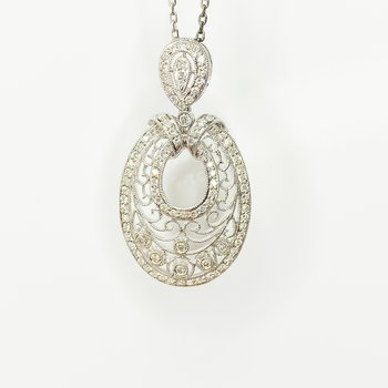 18K White Gold Art Nouveau Filigree Milgrain Diamond Pendant