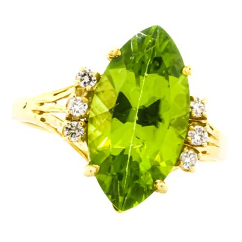 18K Gold Marquise Peridot and Diamond Accent Split Shank Ring