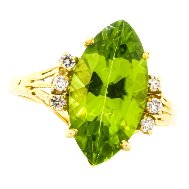Estate Jewelry 18K Gold Marquise Peridot and Diamond Accent Split Shank Ring