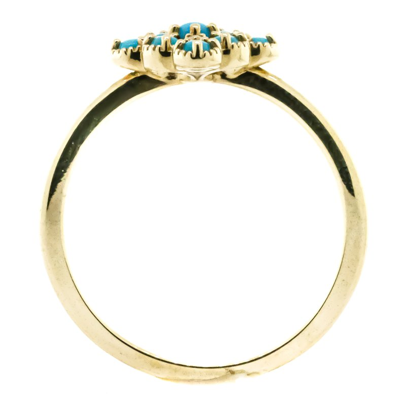 Iroff and Son Jewelers  14K Yellow Gold Diamond and Turquoise Bead Fashion Ring SZ 6.75