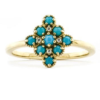 14K Yellow Gold Diamond and Turquoise Bead Fashion Ring SZ 6.75