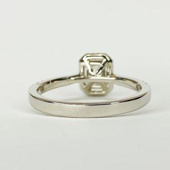 14K White Gold Cushion Diamond Halo GIA Radiant Engagement Ring Size 6.5
