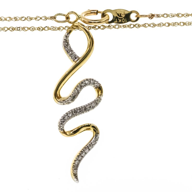 """Iroff and Son Jewelers  10K Yellow Gold Snake With Diamond Accent Necklace 18"""""""