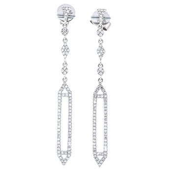 14K White Gold Open Pave Prism Drop Diamond Earrings
