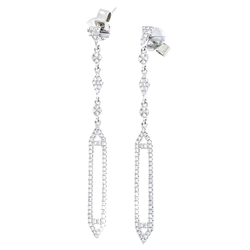 Iroff and Son Jewelers  14K White Gold Open Pave Prism Drop Diamond Earrings
