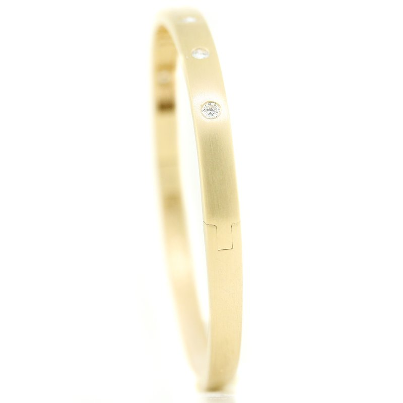 Iroff and Son Jewelers  14K Yellow Gold 5.0mm Wide Diamond Solid Bangle Bracelet