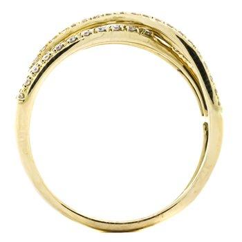 14K Yellow Gold Open Ribbon Diamond Cross Over Band Ring SZ 7