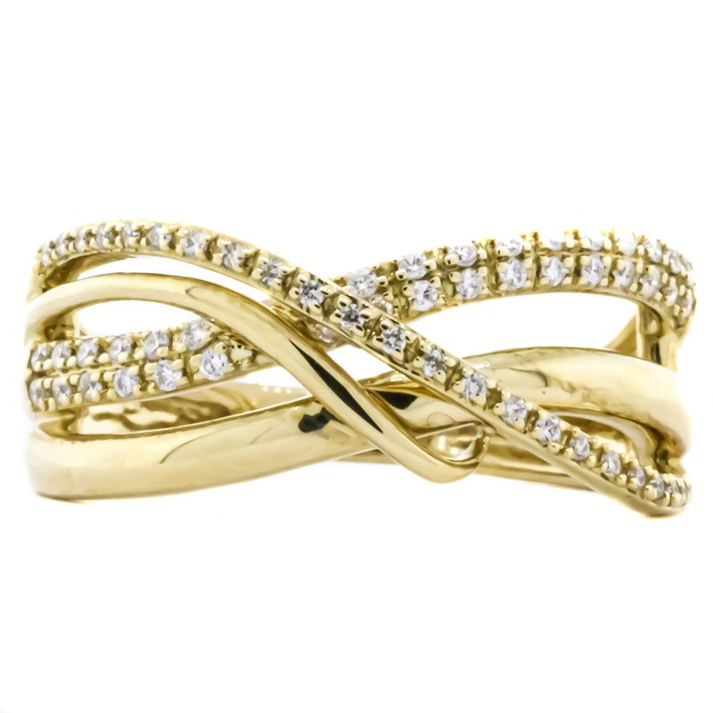 Iroff and Son Jewelers  14K Yellow Gold Open Ribbon Diamond Cross Over Band Ring SZ 7