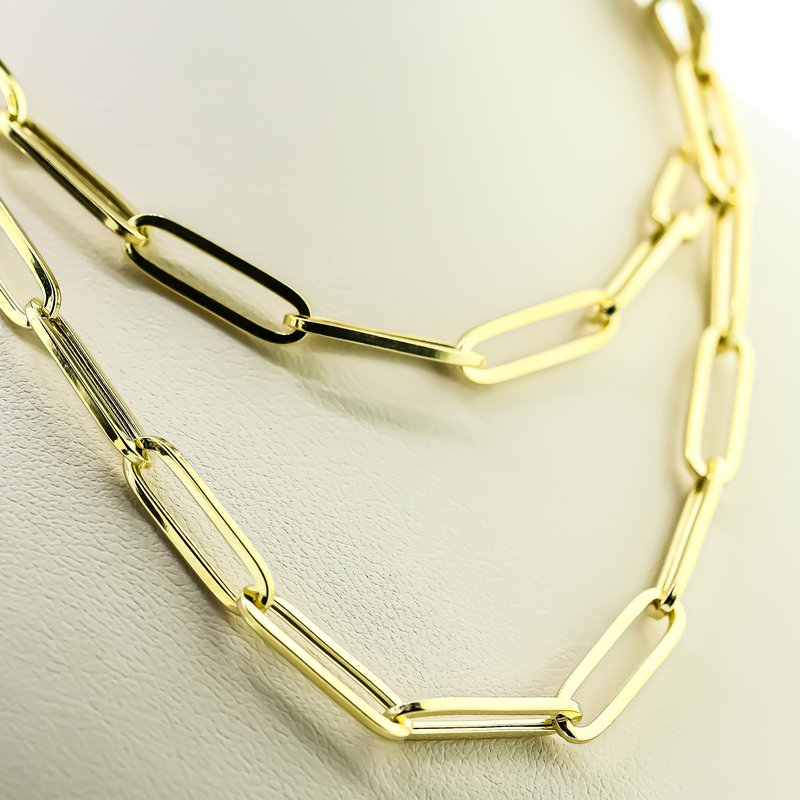 """Iroff and Son Jewelers  14K Yellow Gold 5x17mm Hollow Paper Clip Chain 24"""""""