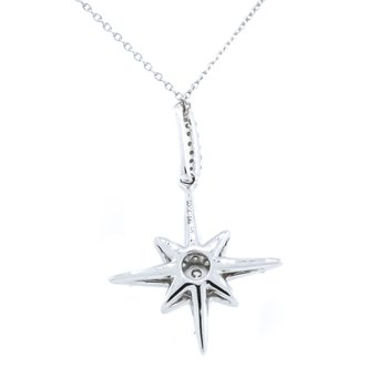 "14K White Gold Star Burst Diamond Pendant 18"" Adjustable"