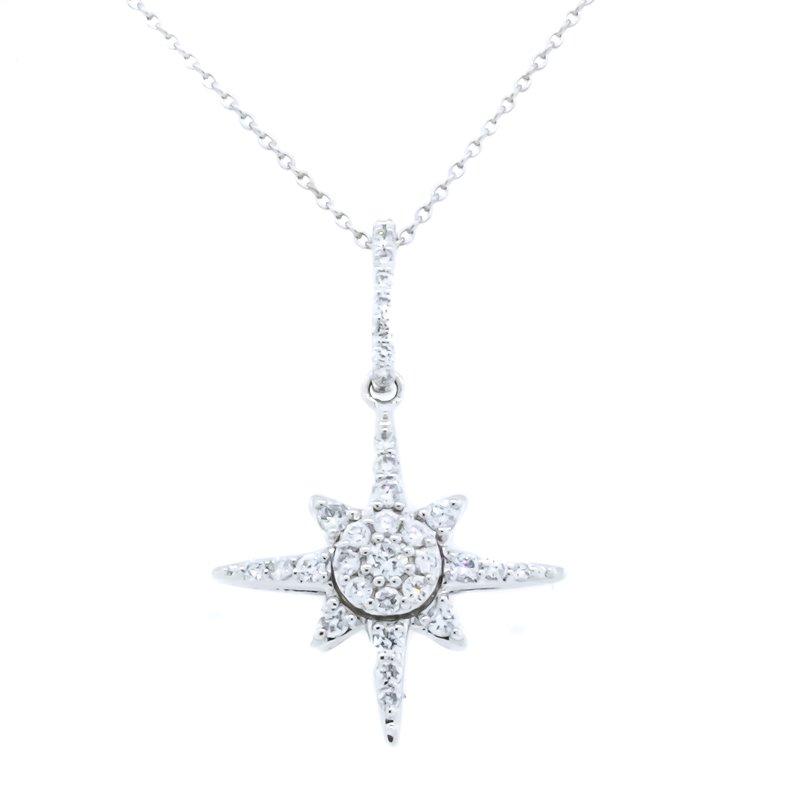 "Iroff and Son Jewelers  14K White Gold Star Burst Diamond Pendant 18"" Adjustable"