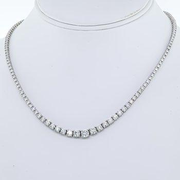 14K White Gold Riviera Diamond 10.00CTW Necklace