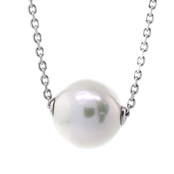 "Sterling silver 16-18"" Freshwater 11mm Solitaire Pearl Necklace"