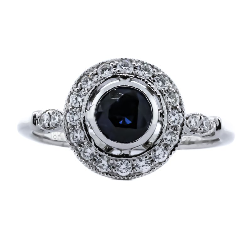 Iroff and Son Jewelers  18K White Gold Sapphire Center Open Diamond Halo Ring SZ 7