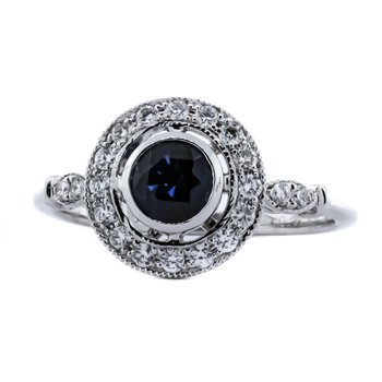 18K White Gold Sapphire Center Open Diamond Halo Ring SZ 7