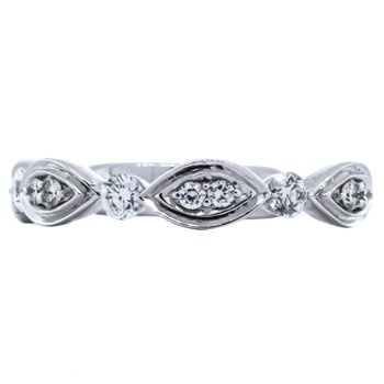 14K White Gold Diamond Ribbon Marquise and Round Ring