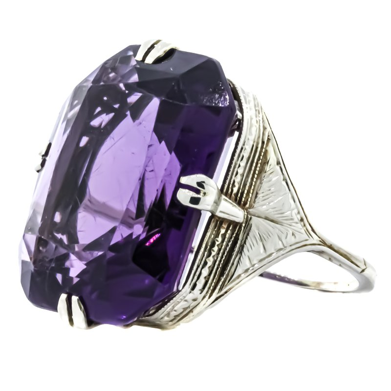 Estate Jewelry 14K White Gold Statement Amethyst and Filigree Ring