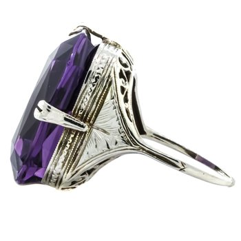 14K White Gold Statement Amethyst and Filigree Ring