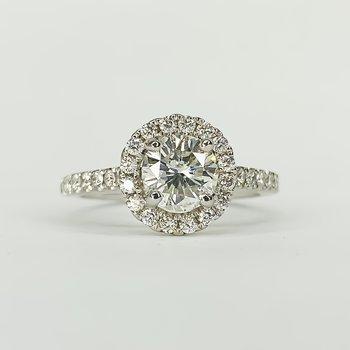 14K White Gold Round Halo 1.35CT GIA Diamond Engagement Ring Size 6.25