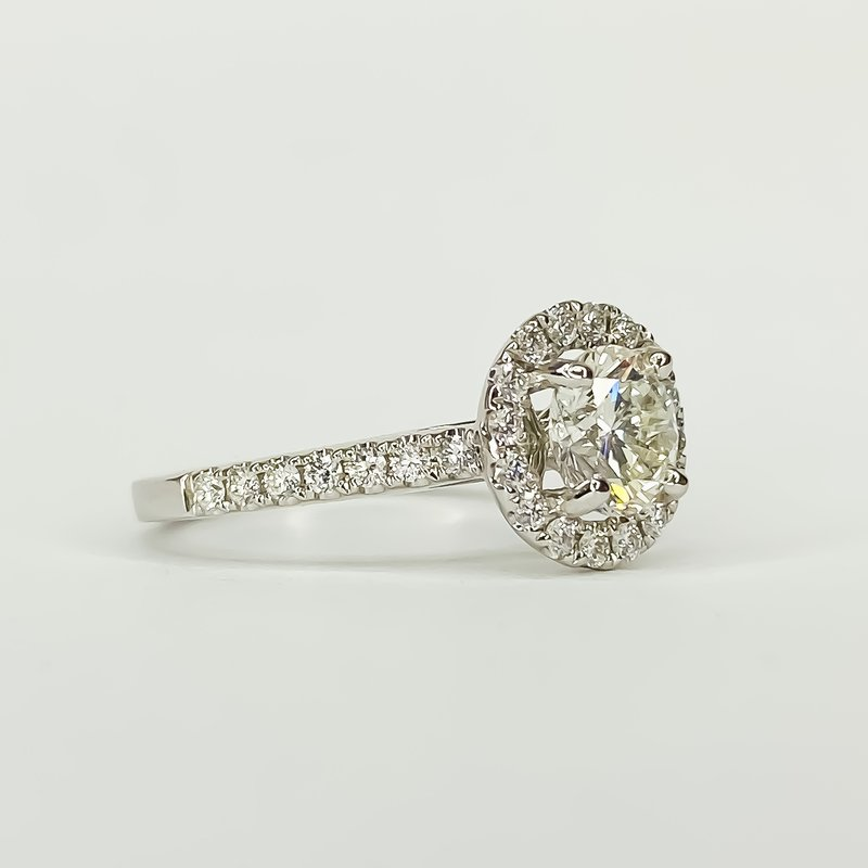 Iroff and Son Jewelers  14K White Gold Round Halo 1.35CT GIA Diamond Engagement Ring Size 6.25