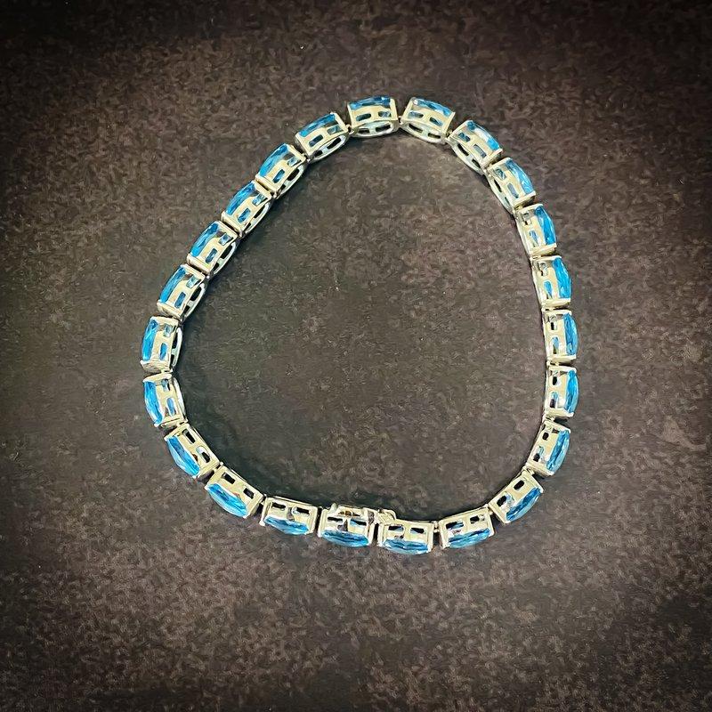 "Estate Jewelry 14K White Gold Blue Topaz Gemstone Tennis Bracelet 7"""