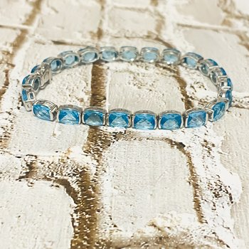 "14K White Gold Blue Topaz Gemstone Tennis Bracelet 7"""