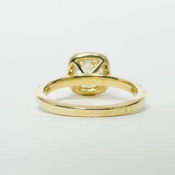 14K Gold Cushion Halo GIA Diamond Engagement Ring
