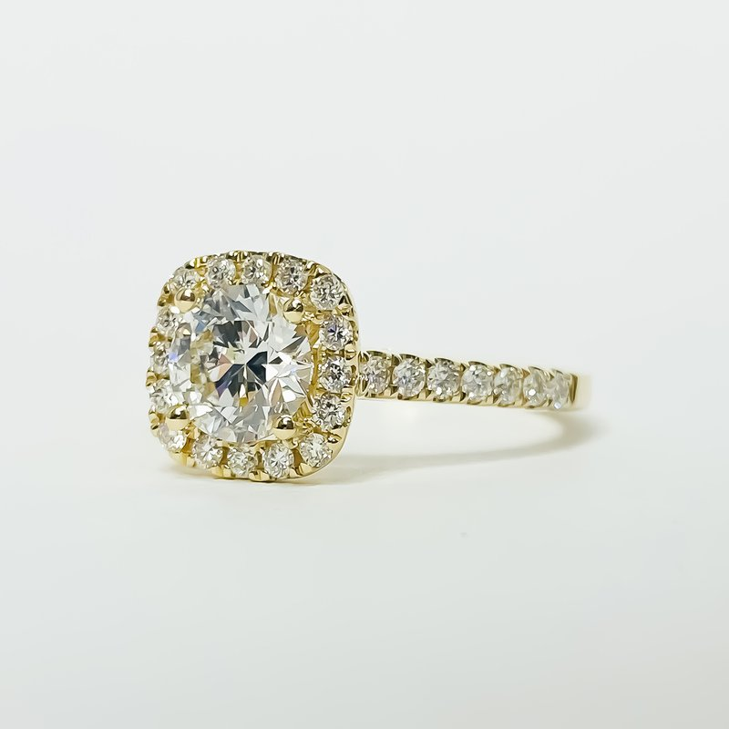 Iroff and Son Jewelers  14K Gold Cushion Halo GIA Diamond Engagement Ring