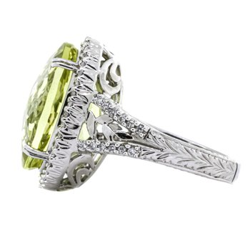 14K White Gold Lemon Quartz Diamond Filigree Cocktail Ring