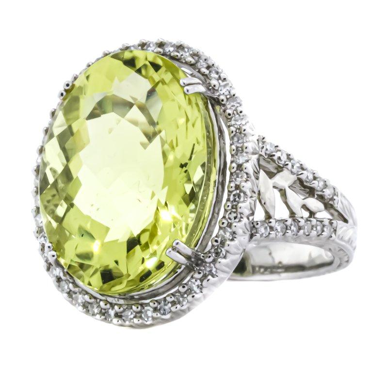 Estate Jewelry 14K White Gold Lemon Quartz Diamond Filigree Cocktail Ring