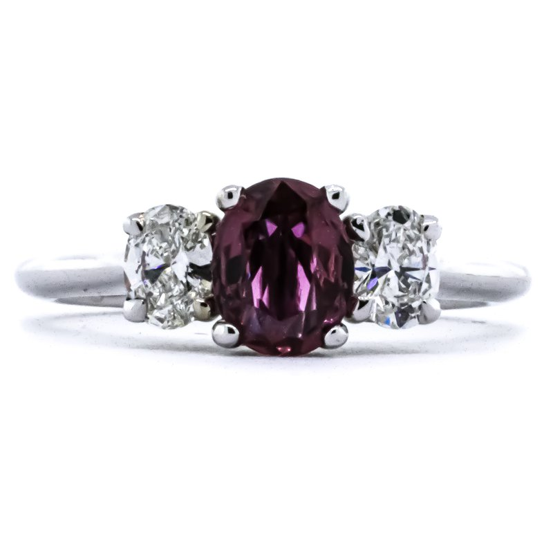 Iroff and Son Jewelers  14K White Gold Three Stone Oval Diamond and Ruby Ring SZ 7