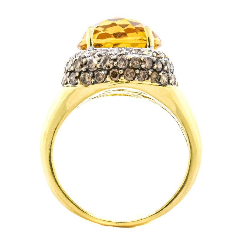 Estate Jewelry 18K Gold Citrine Center White and Champagne Diamond Halo Ring