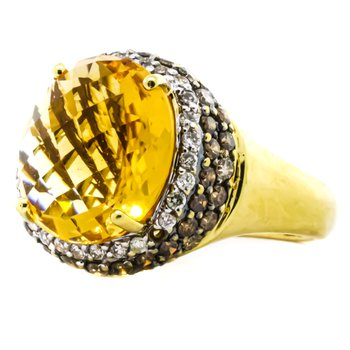 18K Gold Citrine Center White and Champagne Diamond Halo Ring