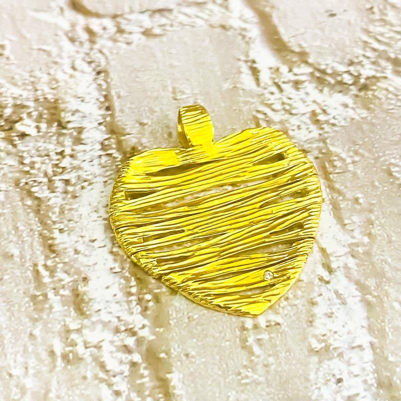 Estate Jewelry Roberto Coin 18K Gold Elephant Skin Heart Pendant