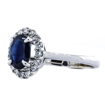 14K White Gold Oval Sapphire Center Diamond Halo Ring SZ 6.75