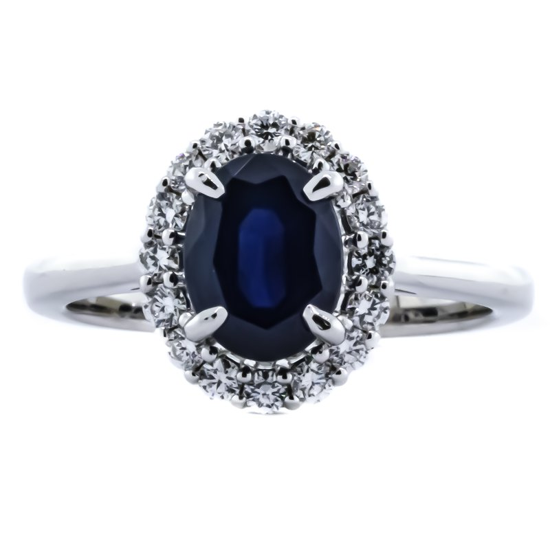 Iroff and Son Jewelers  14K White Gold Oval Sapphire Center Diamond Halo Ring SZ 6.75