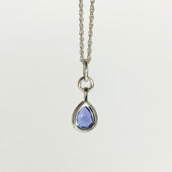 """14K White Gold Pear Diamond Halo Tanzanite Pendant 18"""" Necklace"""