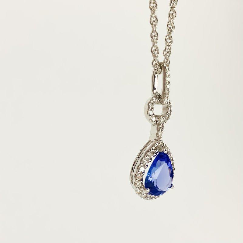 "Iroff and Son Jewelers  14K White Gold Pear Diamond Halo Tanzanite Pendant 18"" Necklace"