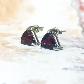 14K White Gold Rhodalite Garnet Trillion Stud Earrings