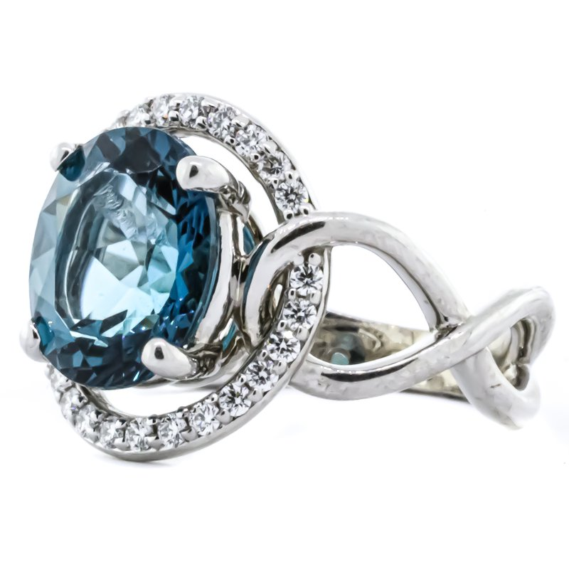 Iroff and Son Jewelers  14K White Gold London Blue Topaz and Diamond Halo Twisted Shank Ring SZ 6.5