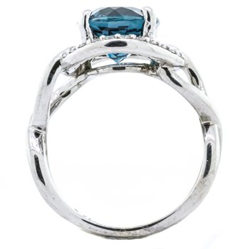 14K White Gold London Blue Topaz and Diamond Halo Twisted Shank Ring SZ 6.5