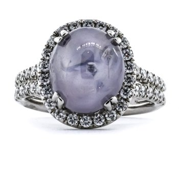 18K White Gold Oval Star Sapphire Diamond Halo and Split Shank Ring SZ 6.5