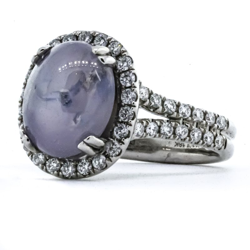 Iroff and Son Jewelers  18K White Gold Oval Star Sapphire Diamond Halo and Split Shank Ring SZ 6.5