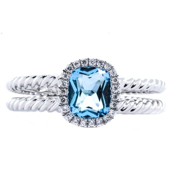 14K white gold dual rope split shank diamond halo blue topaz Ring