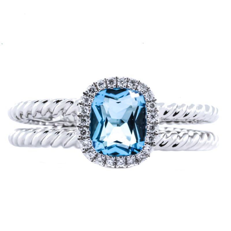 Iroff and Son Jewelers  14K white gold dual rope split shank diamond halo blue topaz Ring